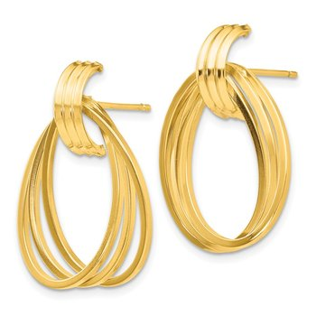 14k Polished Triple Circle Fancy Post Earrings