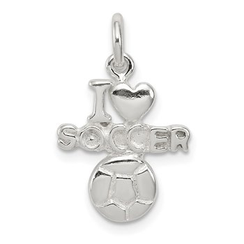 Sterling Silver Polished I Love Soccer Pendant