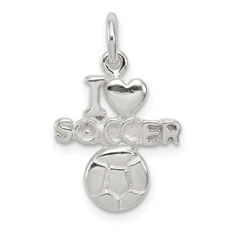 Quality Gold Sterling Silver Polished I Love Soccer Pendant