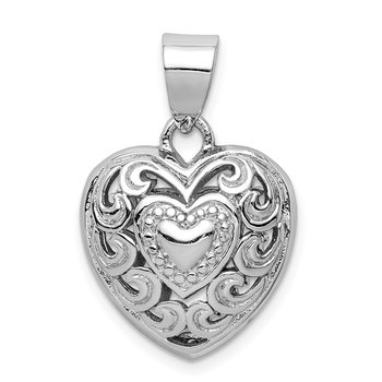 Sterling Silver Rhodium-plated Cut-out Heart Swirl Pendant