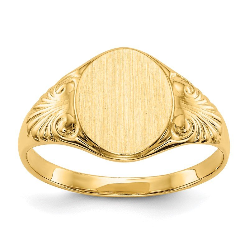 Quality Gold 14k 10.0x7.5mm Closed Back Signet Ring