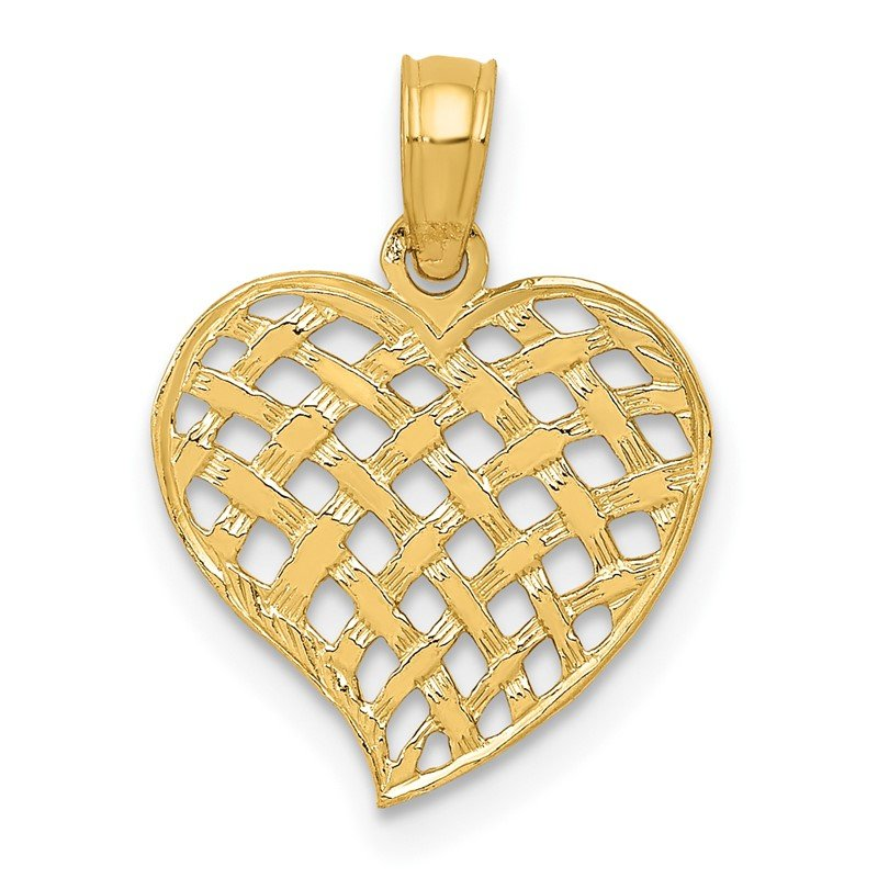 Quality Gold 14K Polished Basket Weave Pattern Heart Pendant