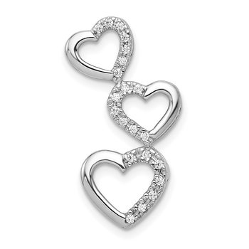 14k White Gold 1/10ct. Diamond Triple Heart Chain Slide