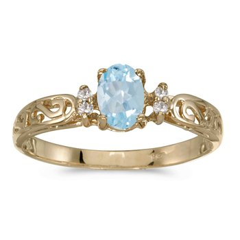 14k Yellow Gold Oval Aquamarine And Diamond Filagree Ring