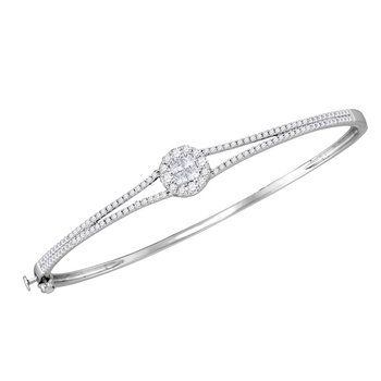 14kt White Gold Womens Princess & Round Diamond Soleil Bangle Bracelet 1.00 Cttw