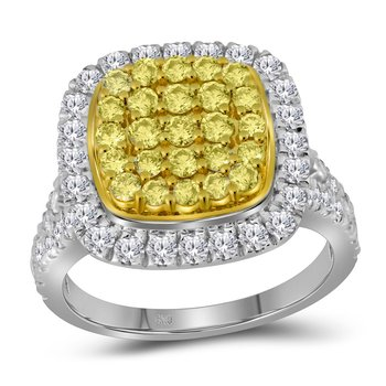 14kt White Gold Womens Round Natural Yellow Diamond Cluster Ring 1-3/4 Cttw