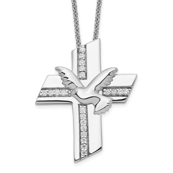 Sterling Silver CZ Confirmation Blessings 18in. Necklace