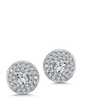 Diamond Double Round Halo Studs in14K White Gold with Platinum Post (1/2ct. tw.)