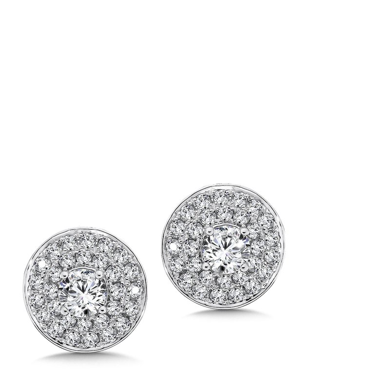 Caro74 Diamond Double Round Halo Studs in14K White Gold with Platinum Post (1/2ct. tw.)
