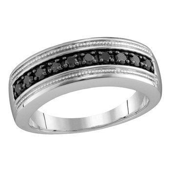 Sterling Silver Mens Round Black Color Enhanced Diamond Milgrain Wedding Anniversary Band Ring 1/2 Cttw