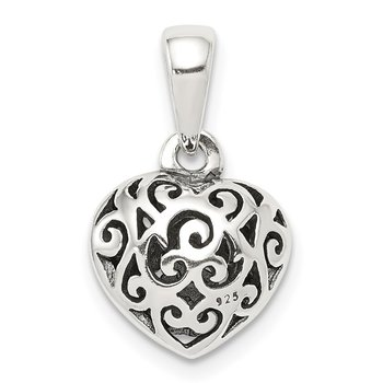 Sterling Silver Antique Filigree Puff Heart Pendant