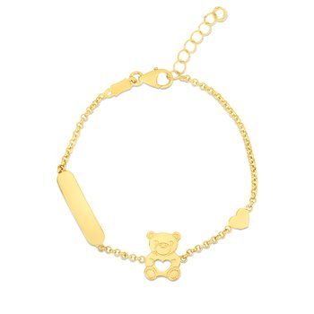 14K Gold Teddy Bear ID Bracelet