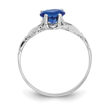 14k White Gold September CZ Birthstone Claddagh Ring