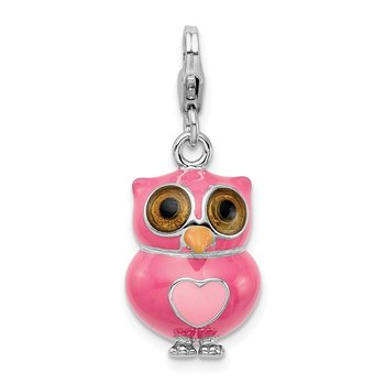 Sterling Silver RH Enameled 3-D Heart Owl w/Lobster Clasp Charm