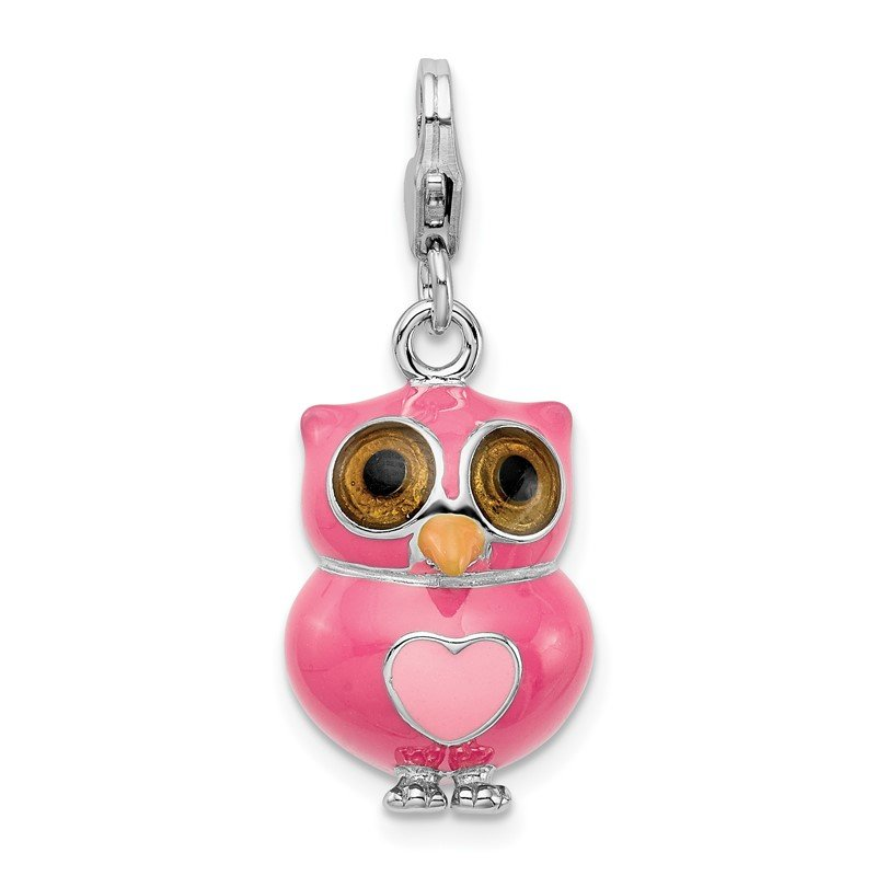 Quality Gold Sterling Silver RH Enameled 3-D Heart Owl w/Lobster Clasp Charm