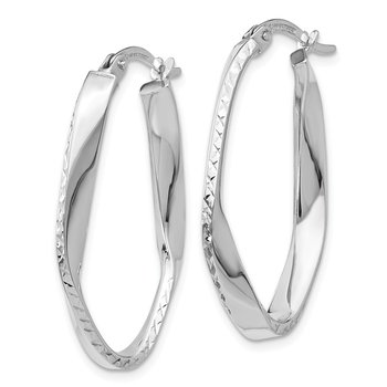 Leslie's 10K White Gold Polished & D/C Oval Hoop Earrings