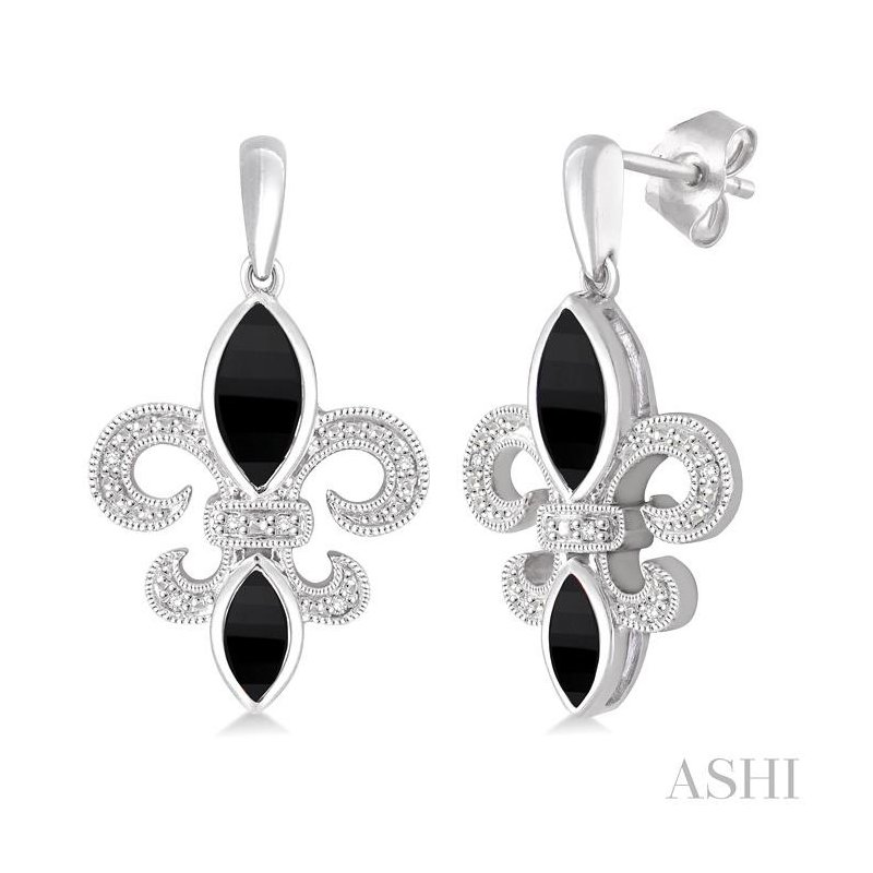 Gemstone Collection silver fleur de lis gemstone & diamond earrings