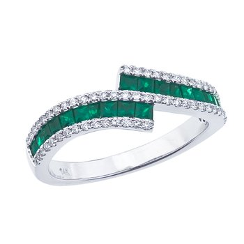 14k White Gold Emerald and Diamond Bypass Ring