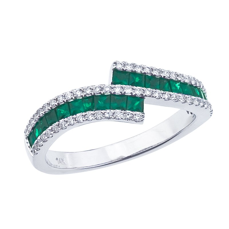 Color Merchants 14k White Gold Emerald and Diamond Bypass Ring