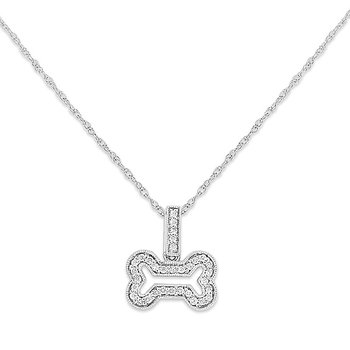 Diamond Small Bone Necklace in 14k White Gold with 33 Diamonds weighing .12ct tw.