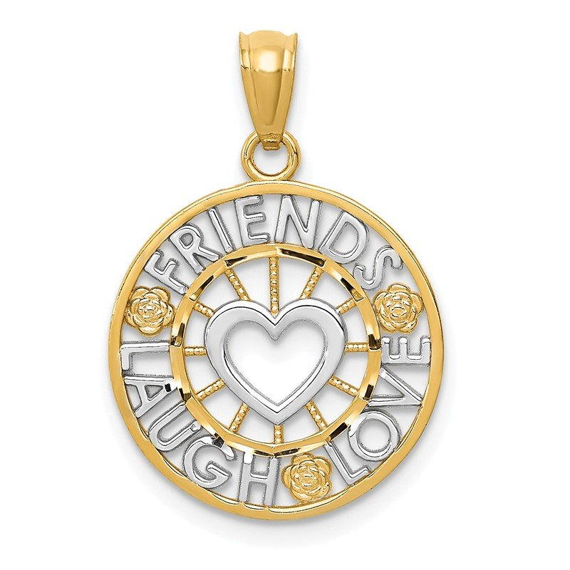 Quality Gold 14k and Rhodium Friends, Laugh, Love Circle Pendant