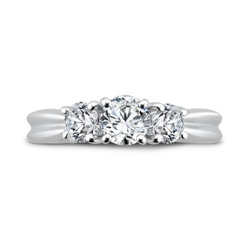Round Three Stone Diamond Engagement Ring in 14K White Gold with Platinum Head (1/2ct. tw.)