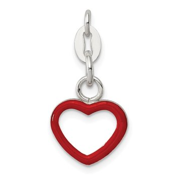Sterling Silver Enameled Heart Charm