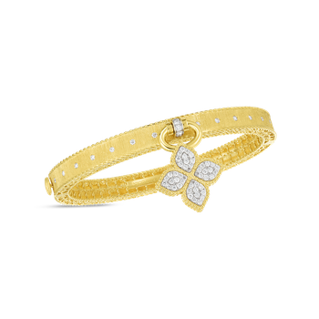 18K PRINCESS FLOWER SATIN BANGLE WITH DIAMOND FLOWER CHARM