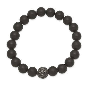 Stainless Steel Antiqued Black Agate Fleur de Lis Stretch Bracelet