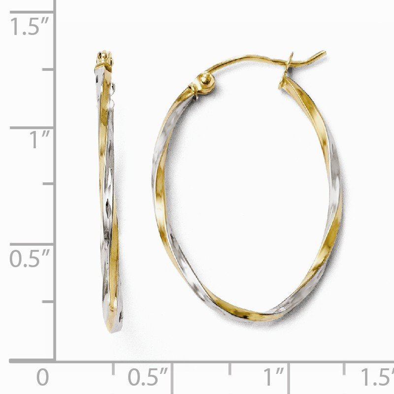 Leslie's Leslie's 10K w/Rhodium Oval Hinged Hoop Earrings