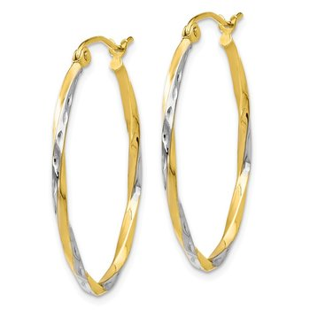 Leslie's 10K w/Rhodium Oval Hinged Hoop Earrings