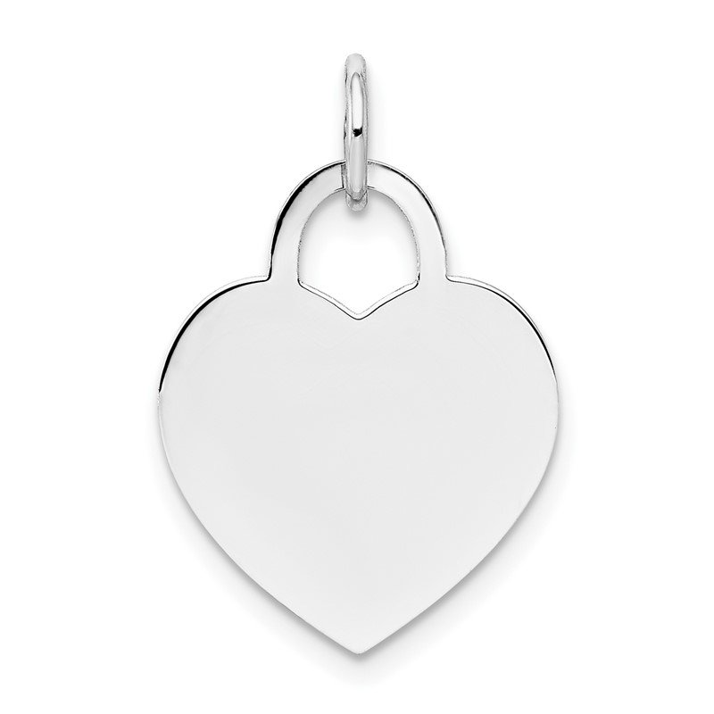 Quality Gold 14k White Gold Medium Engravable Heart
