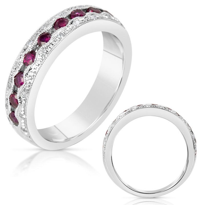Briana White Gold Ruby & Diamond Band