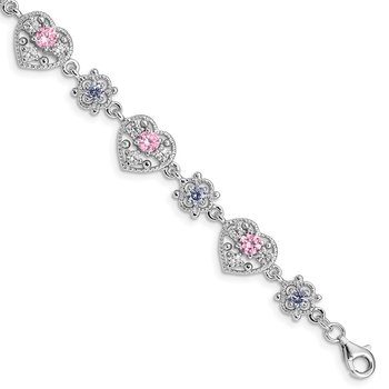 Sterling Silver Rhod-plated 7inch Pink and Clear CZ Heart Bracelet