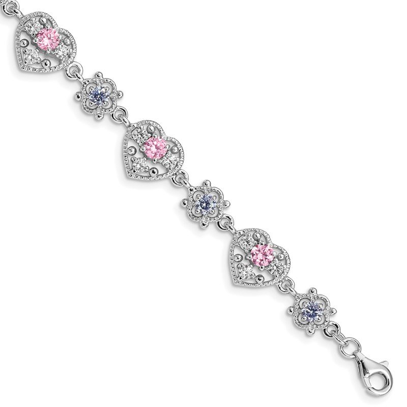 Quality Gold Sterling Silver Rhod-plated 7inch Pink and Clear CZ Heart Bracelet