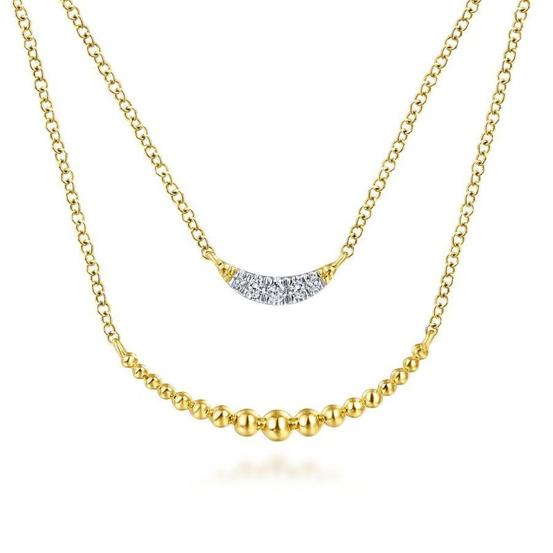 Gabriel Fashion 14K Yellow Gold Layered Diamond Crescent Pendant Necklace