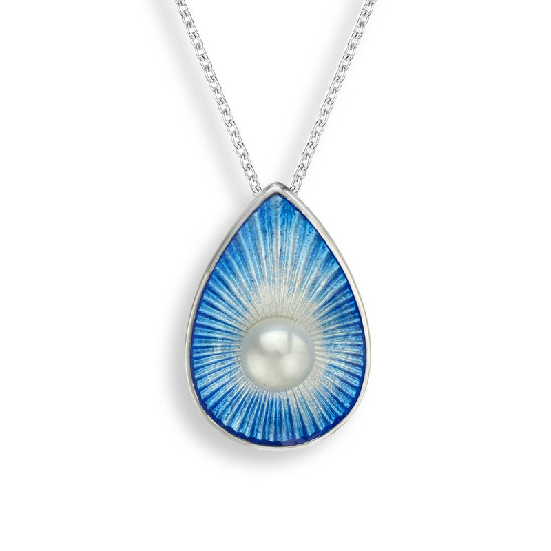 Nicole Barr Designs Blue Teardrop Necklace.Sterling Silver-Freshwater Pearl
