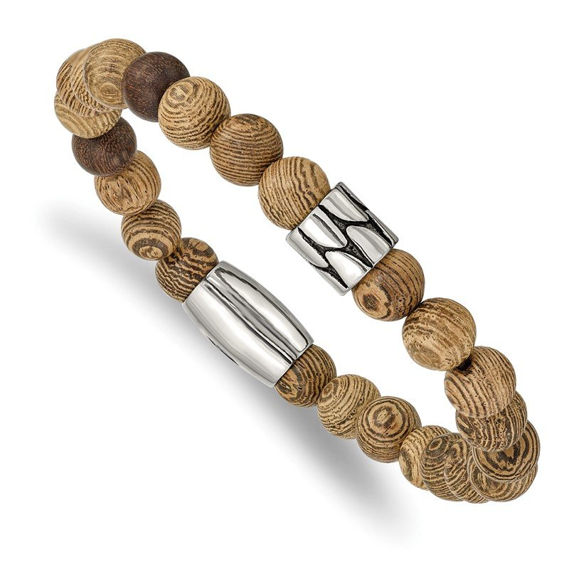 Chisel Stainless Steel Strecth Antiqued & Polished Tan African Wood Bracelet