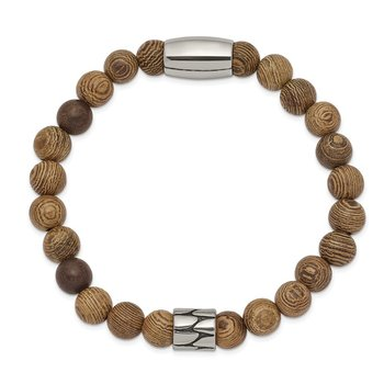 Stainless Steel Strecth Antiqued & Polished Tan African Wood Bracelet