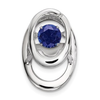 Sterling Silver Rhodium Created Sapphire Birthstone Vibrant Chain Slide