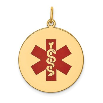 14k Red Enamel Medical Jewelry Pendant