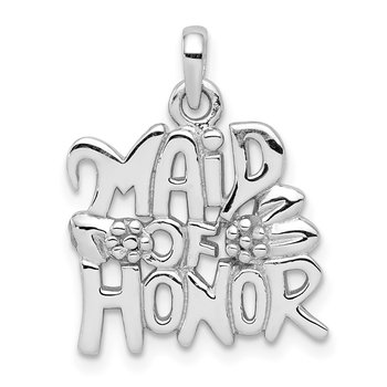 Sterling Silver Rhodium-plated Polished MAID OF HONOR Pendant