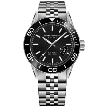 Men's Automatic Diver Watch, 42mm Steel on steel, black dial