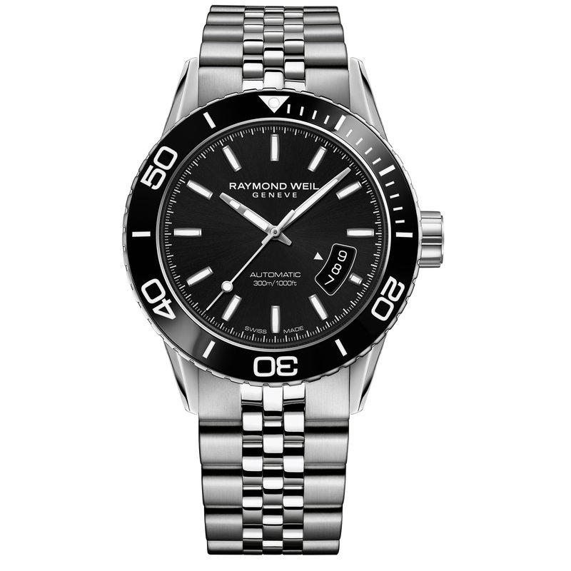 Raymond Weil Men's Automatic Diver Watch, 42mm Steel on steel, black dial