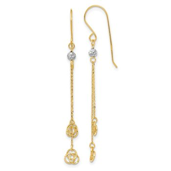 14k Two-tone Polished D/C Love Knot Dangle Shepherd Hook Earrings