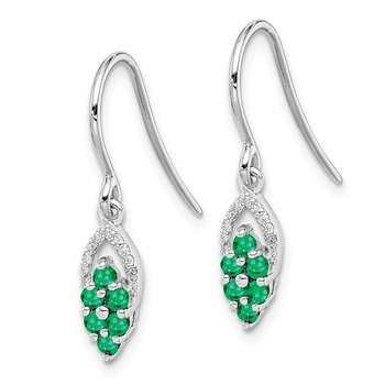 Sterling Silver Rhodium-plated Diam. & Emerald Shepherd Hook Earrings