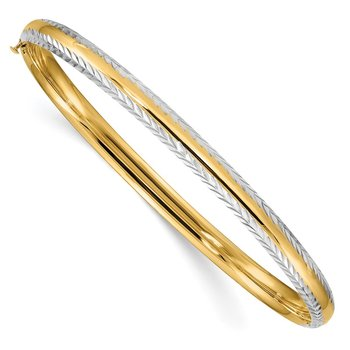 14k 3/16 w/White Rhodium Diamond-Cut Hinged Bangle