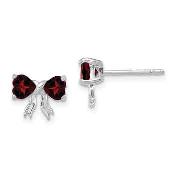 14k White Gold Polished Garnet Bow Post Earrings