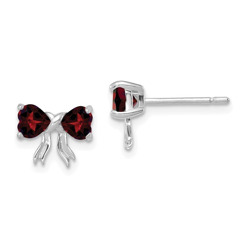 Quality Gold 14k White Gold Polished Garnet Bow Post Earrings