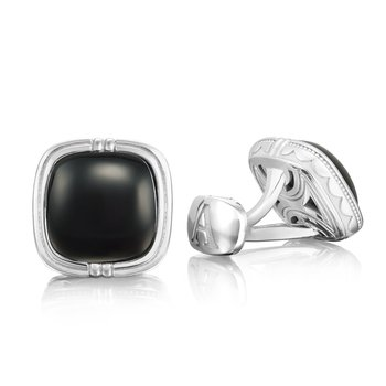 Cushion Cabochon Cuff Links featuring Black Onyx